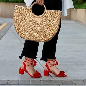 JustFab 'Jean' Fringe Dress Sandals